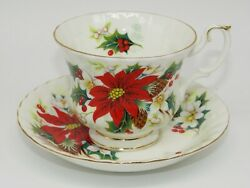 Royal Albert Yuletide Crimson Red Poinsettia Christmas Rose Cup And Saucer Set