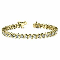 's' Link Charm Tennis Bracelet For Women's 10k Yellow Gold Over Sterling Silver