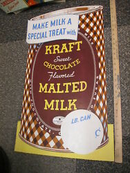 Kraft 1938 Chocolate Malted Milk Can Drink Mix Grocery Store Display Sign 29