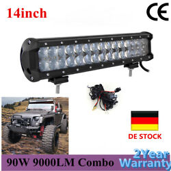 14 Inch 90w 4d Led Light Bar Offroad Work Lamp 12v Driving + Wiring Harness 4wd