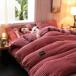 3pcs/4pcs Soft Thicken Coral Fleece Bedding Flannel Velvet Cover With Bed Sheet
