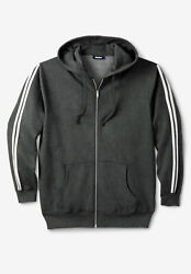 Kingsize Menand039s Big And Tall Fleece Jacket With Striped Detail