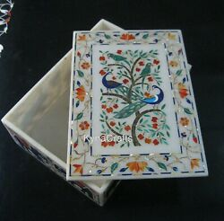 8 X 11 Inches White Marble Trinket Box Nature Art Jewelry Box Best Gift For Her