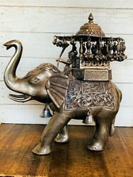 Vintage Indian Sterling Silver Walking Royal Elephant With Maharaja Figurine