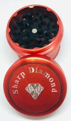 Red Sharp Diamond 1.7'' Inches43.18mm Hard Top 4pc Herb Tobacco Small Grinder