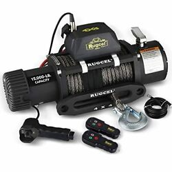 Rugcel 12000lb Waterproof Electric Synthetic Rope Winch With Hawse Fairlead Wir