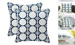 Navy Couch Pillows Covers Set Embroidered with Invisible Zipper 18x18 Blue