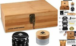 Xl Wood Stash Box Kit With Tray, Locking Smell Proof Jar Large Wooden Hinges