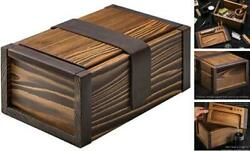 Vintage Wooden Stash Box With Rolling Large Box With Rolling Tray Dark Walnut