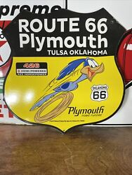 1968 Vintage And039and039plymouth Ok Route 66and039and039 11.5x11.5 Inch Porcelain Gas And Oil Sign