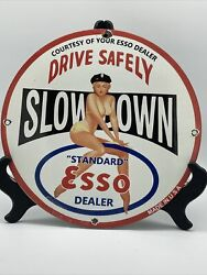 Vintage Style And039and039essoand039and039 Gas And Oil Pump Plate 12 Inch Porcelain Sign Made In Usa
