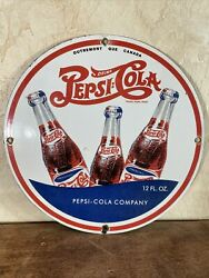 Vintage And039and039pepsi = Colaand039and039 Gas Porcelain Dealer Advertising Sign 12 Inch