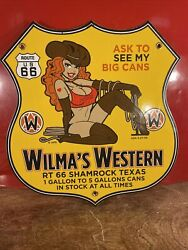 Vintage And039and039wilmaand039s Westernand039and039 Gas And Oil Pump Plate 12x11 Inch Porcelain Sign