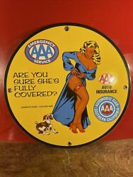 1958 Vintage Styleand039and039aaa Auto Insuranceand039and039 Gas Oil Dealer Porcelain Sign 12 Inch