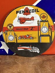 Vintage Style 1959 Pennzoil Gas And Oil Pump Plate 10 Inch Porcelain Sign