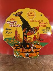 53 Vintage Die Cut And039and039shell Gasolineand039and039 Gas And Oil Plate 12 Inch Porcelain Sign