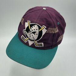 Vintage Mighty Ducks Logo 7 Anaheim Snapback Embroidered Hat Cap Nhl Distressed