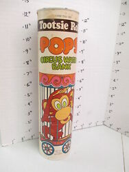 Tootsie Roll Pops 1970s Circus Wagon Monkey Advertising Toy Can Coin Bank
