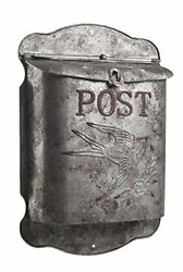 Rustic Galvanized Metal Bird Post Mailbox Vintage Wall Mount Shabby Chic Style