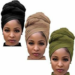 Long Cotton Head Wrap Scarf For Women African Stretch Hair Jersey Turban Head...