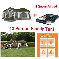 12 Person Family House Tent With 3 Room And 4 Queen Standard Durabeam Airbed