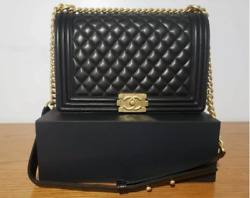 CHANEL Leboy Black Lambskin Quilted Flap Bag with Gold Hardware $600.00