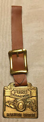 Ford Tractor Ferguson System Vintage Machine Watch Key Fob Leather Rare