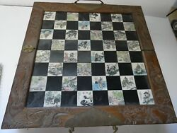 Vintage Antique Chess Set In Wood Box Carved Asian Chinese