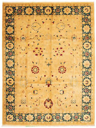 Vintage Hand-knotted Carpet 10and0392 X 13and0397 Traditional Geometric Wool Area Rug