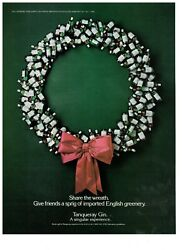 1986 Tanqueray Gin Bottle Christmas Wreath Vintage Print Advertisement
