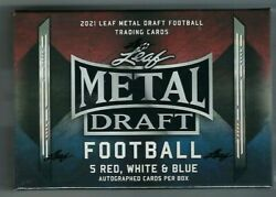 2021 Leaf Metal Draft Red White And Blue Football Hobby Box - Trevor Lawrence Rc