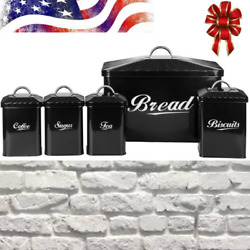 Retro Large-capacity Bread Box And 4-piece Canister Set Iron Storage Container