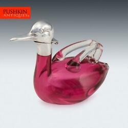 Novelty 20thc Czech Silver Plated And Glass Duck Shaped Claret Jug C.1960