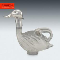 Novelty 20thc Silver Plated And Glass Duck Shaped Claret Jug C.1960