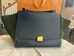 Rare Céline Trapeze In British Green Leather With Suede Wings Discontinued