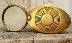 Antique Small Brass Folding Eye Loupe Magnifying Glass