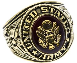 Us Army Mens Ring 6 Carat Simulated Ruby 18k Gold Overlay Size 12