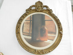 21x17 Antique Gesso Wood Picture Round Frame With Crown Top Vintage Ant. Gold