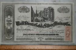 1864 Nevada Ter. San Francisco Wall St. Gold Silver Mining Co Stock Certificate