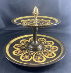Double Tier Serving Tray W/vintage Mikasamajorca Pattern Plates