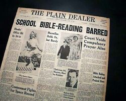 School Bible Reading Is Unconstitutional W/ Supreme Court Ruling 1963 Newspaper