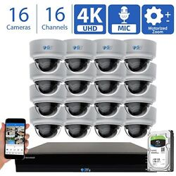 16 Channel 16 4k 8mp 5x Motorized Zoom Mic Ip Poe Ai Dome Security Camera System