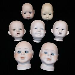 7 Vintage Porcelain 3-4 Tall Doll Heads Repair Restore. Project Parts.