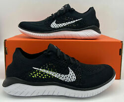 Nike Womenand039s Free Rn Flyknit 2018 942839-001 Black And White Shoes Nib