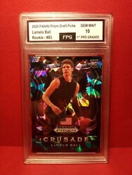 🔥74/99 Lamelo Ball Rookie Card Blue Cracked Ice 2020-21 Panini Prizm Graded 10