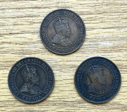 Lot Of 3 Canada One Cent Large Coin Edward 1902 1909 And 1910
