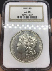1884 S Morgan Silver Dollar Graded Au58 By Ngc Blast White Almost Uncirculated