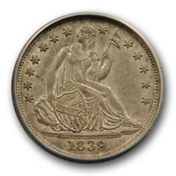 1839 H10c No Drapery Seated Liberty Half Dime Anacs Au 53 About Uncirculated