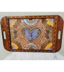 Antique Vintage Wooden Large Tray Serving And Butterfly Wing Inlaid Colored 21