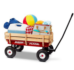 Full Size All-terrain Classic Steel And Wood Pull Along Wagon In Red